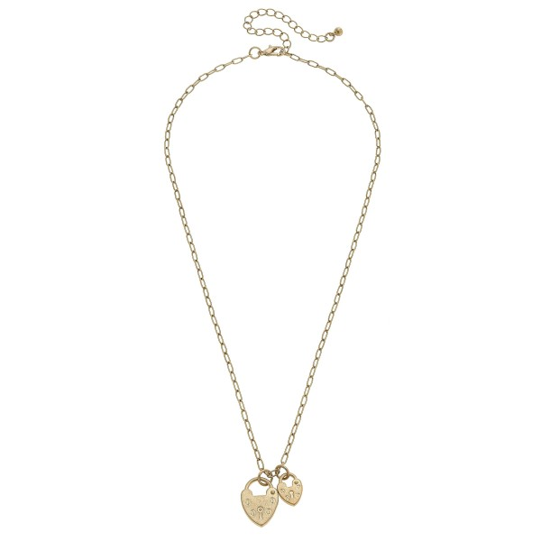 "Heart Padlock Pendant Necklace in Worn Gold.  - Pendants 1cm - .75""  - Approximately 20"" in Length - 3"" Adjustable Extender"