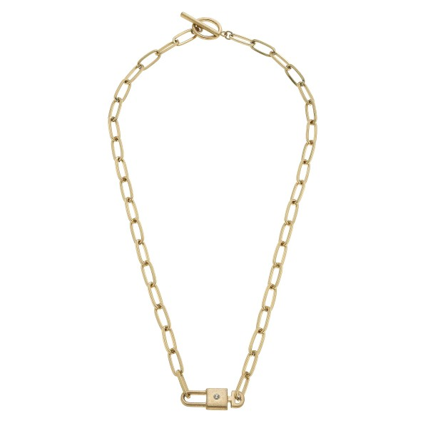 """Lock & Key Chain Link Necklace in Worn Gold.  - Pendant 1"""" - Toggle Bar Clasp - Approximately 18"""" in Length"""