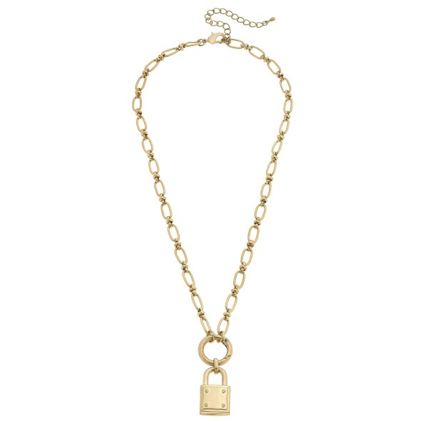 "Chain Link Padlock Pendant Necklace in Gold.  - Pendant approximately 1"" - Detachable Ring Pendant  - Approximately 20"" in Length - 3"" Adjustable Extender"