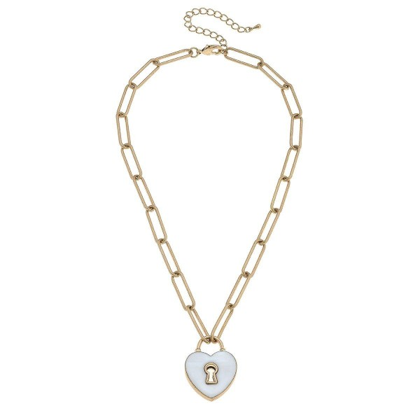 "Mother of Pearl Heart Padlock Necklace in Worn Gold.  - Pendant 1""  - Approximately 16"" in Length - 3"" Adjustable Extender"