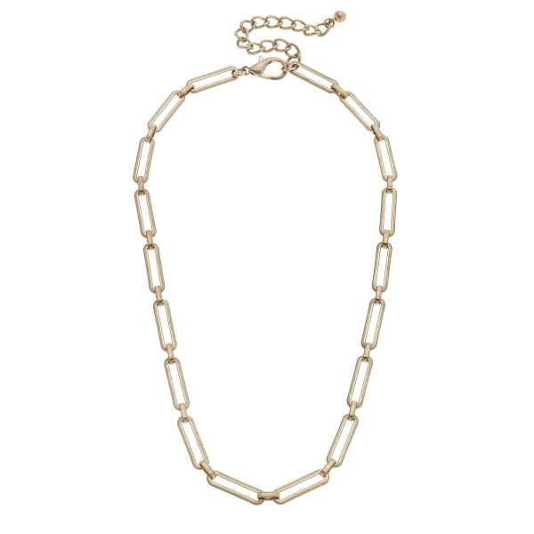 "Flat Paperclip Chain Link Necklace in Gold.  - Approximately 18"" in Length - 3"" Adjustable Extender"