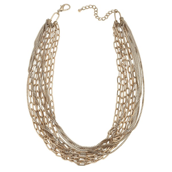 "Chain Link Layered Statement Necklace in Worn Gold.  - Approximately 20"" in Length - 3"" Adjustable Extender"