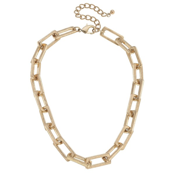 "Square Chain Link Necklace in Worn Gold.  - Approximately 16"" in Length - 3"" Adjustable Extender"