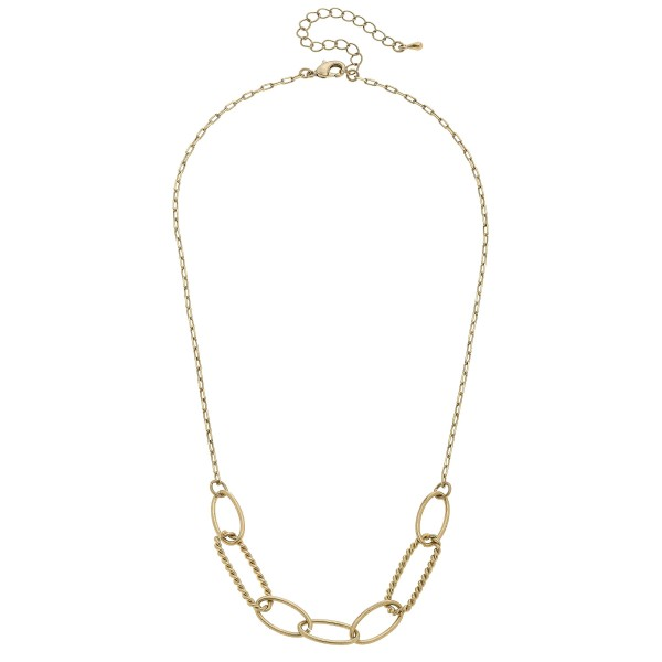 "Chain Link Necklace in Worn Gold.  - Approximately 16"" in Length - 3"" Adjustable Extender"