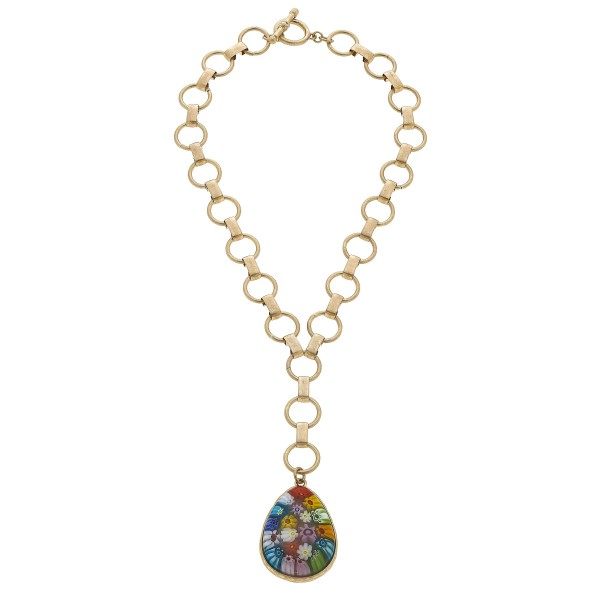 "Chain Link Y Necklace Featuring a Multi Glass Flower Teardrop Pendant.  - Pendant 2""  - Toggle Bar Clasp - Approximately 22"" in Length"