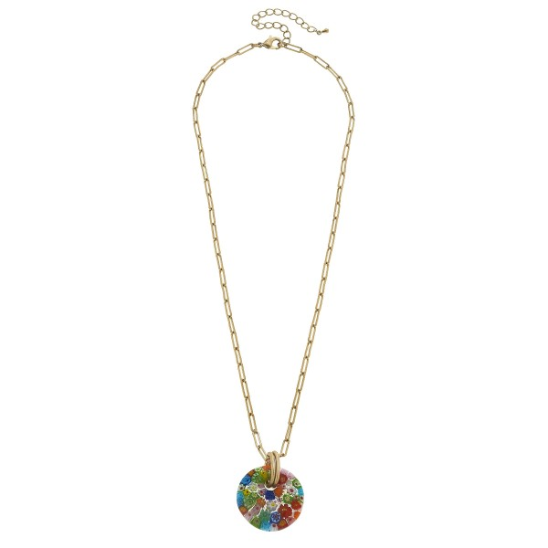 "Long Chain Link Necklace Featuring Glass Flower Disc Pendant.  - Pendant 1.5""  - Approximately 26"" in Length - 3"" Adjustable Extender"