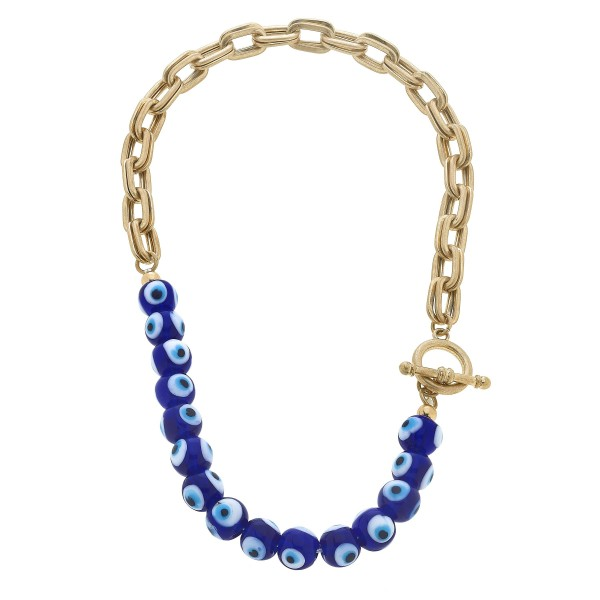 "Chain Link Evil Eye Beaded Toggle Bar Necklace.  - Bead 11mm - Toggle Bar Clasp - Approximately 16"" in Length"