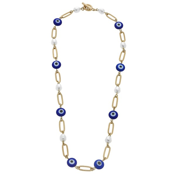 "Chain Link Evil Eye Pearl Necklace in Worn Gold.  - Approximately 20"" in Length - Toggle Bar Clasp"