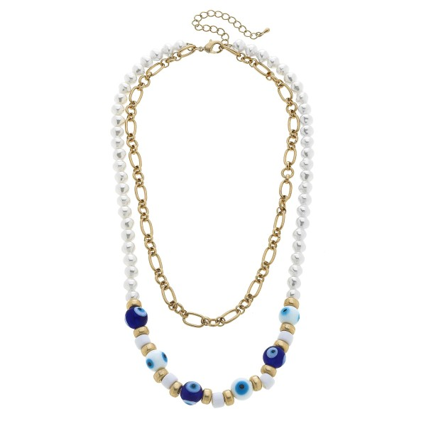 "Chain Link Layered Pearl Beaded Evil Eye Necklace in Worn Gold.  - Approximately 22"" in Length - 3"" Adjustable Extender"