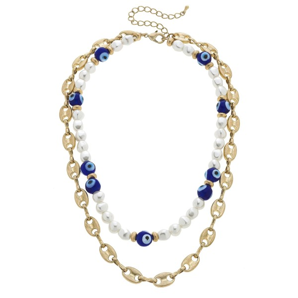 "Chain Link Layered Pearl Beaded Evil Eye Necklace in Worn Gold.  - Approximately 16"" in Length - 3"" Adjustable Extender"