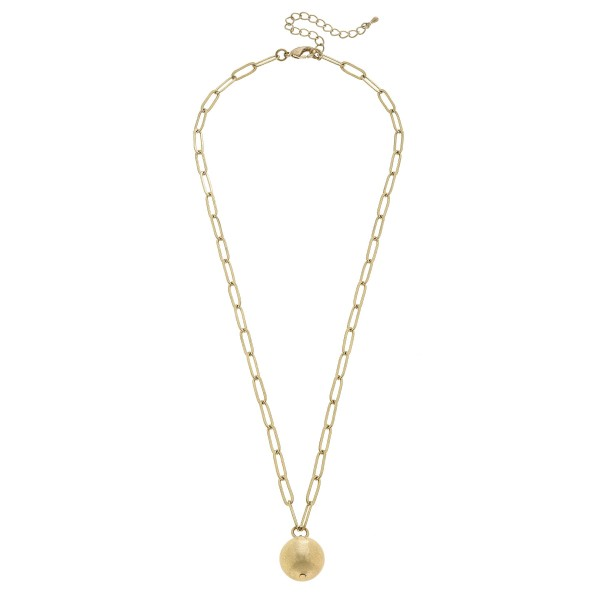 "Chain Link Ball Pendant Necklace in Worn Gold.  - Pendant 17mm - Approximately 24"" in Length - 3"" Adjustable Extender"
