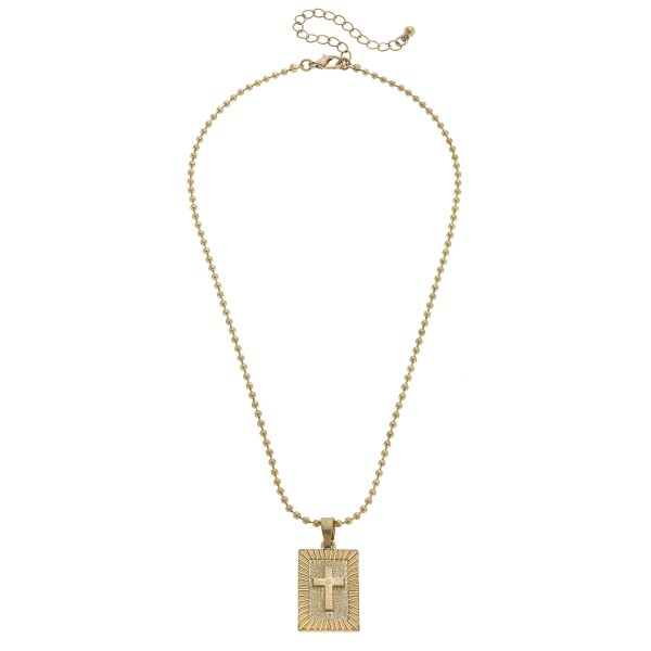 "Ball Chain Cross Pendant Necklace in Worn Gold.  - Pendant 1""  - Approximately 16' in Length - 3"" Adjustable Extender"