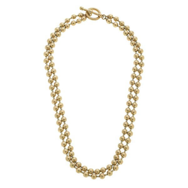 "Ball Chain Layered Toggle Bar Necklace in Worn Gold.  - Toggle Bar Clasp - Approximately 18"" in Length"