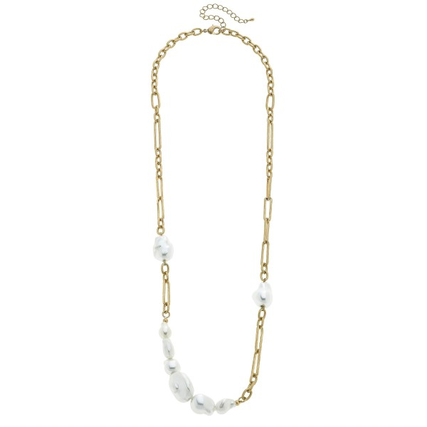 "Baroque Pearl Chain Link Necklace in Worn Gold.  - Pearls approximately 1""  - Approximately 26"" in Length - 3"" Adjustable Extender"