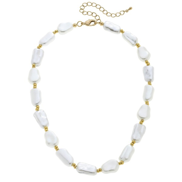 "Short Ivory Pearl Beaded Necklace in Worn Gold.  - Pearls .75""  - Approximately 16"" in Length - 3"" Adjustable Extender"
