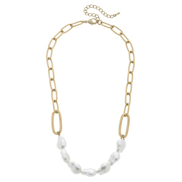 "Chain Link Baroque Pearl Necklace in Worn Gold.  - Approximately 16"" in Length - 3"" Adjustable Extender"