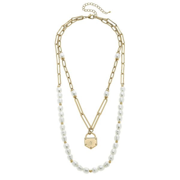 """Pearl Beaded Chain Layered Padlock Necklace in Worn Gold.  - Padlock Pendant 1""""  - Approximately 18"""" in Length - 3"""" Adjustable Extender"""