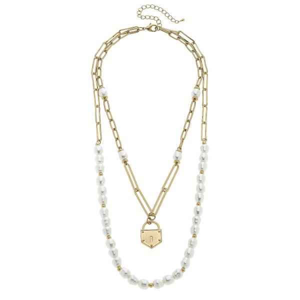 Wholesale pearl Beaded Chain Layered Padlock Necklace Worn Gold Padlock Pendant