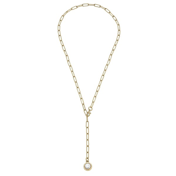 "Adjustable Pearl Y Necklace in Worn Gold.  - Pendant 1cm  - Approximately 24"" in Length"