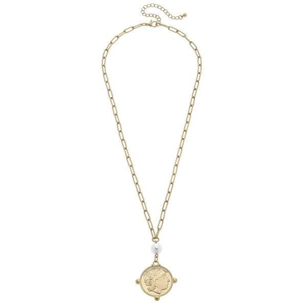 "Coin Necklace in Worn Gold Featuring a Pearl Accent.  - Pearl 8mm - Pendant 1.5""  - Approximately 22"" in Length - 3"" Adjustable Extender"