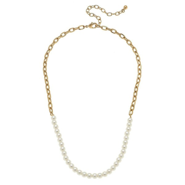 "Pearl Beaded Chain Link Necklace in Worn Gold.  - Approximately 16"" in Length - 3"" Adjustable Extender"