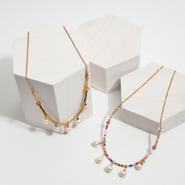 """Seed Beaded Freshwater Pearl Necklace.  - Pearls 7mm - Approximately 16"""" in Length - 3"""" Adjustable Extender"""