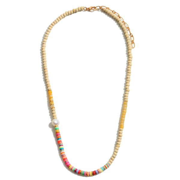 "Multi Rubber Wood Beaded Pearl Necklace.  - Approximately 16"" in Length - 3"" Adjustable Extender"