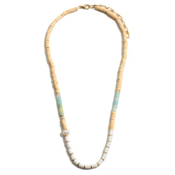 "Heishi Rubber Beaded Pearl Necklace.  - Approximately 16"" in Length - 3"" Adjustable Extender"