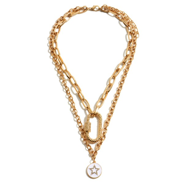 """Chain Link Layered Carabiner Star Pendant Necklace.  - Pendant .5""""  - Approximately 18"""" in Length - 3"""" Adjustable Extender"""