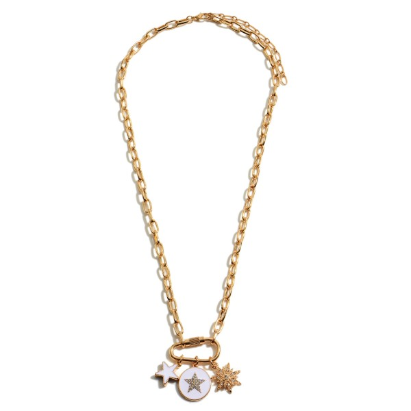 """Chain Link Carabiner Star Charm Necklace.  - Charms approximately .5""""  - Approximately 20"""" in Length - 3"""" Adjustable Extender"""