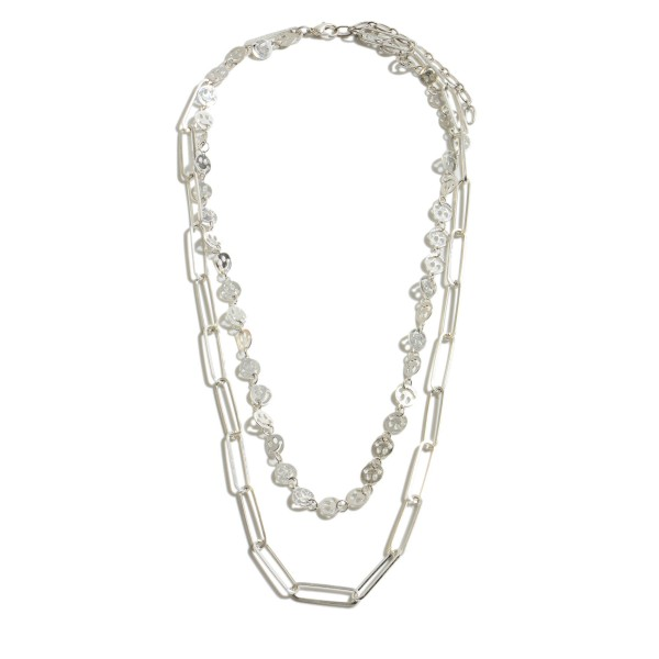 """Smiley Chain Link Layered Necklace in Worn Silver.  - Approximately 18"""" in Length - 3"""" Adjustable Extender"""