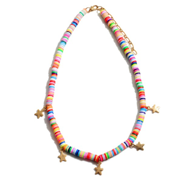 """Rubber Spacer Beaded Necklace Featuring Star Accents.  - Approximately 16"""" in Length - 3"""" Adjustable Extender"""