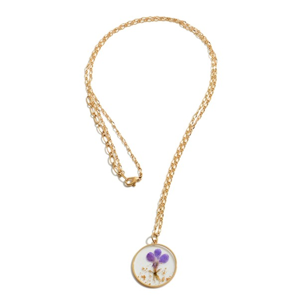 """Long Necklace Featuring a Pressed Purple Flower Resin Pendant.  - Pendant 1.25"""" in Diameter - Approximately 30"""" in Length - 3"""" Adjustable Extender"""