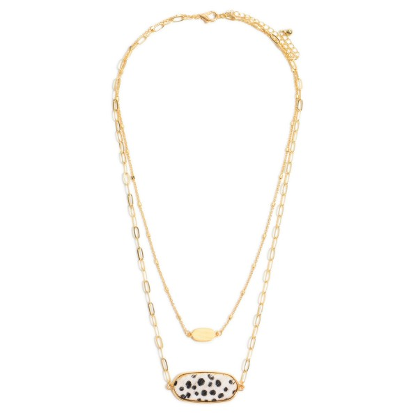 """Chain Link Layered Animal Print Bar Necklace in Gold.  - Pendant 1.25""""  - Approximately 16"""" in Length - 3"""" Adjustable Extender"""