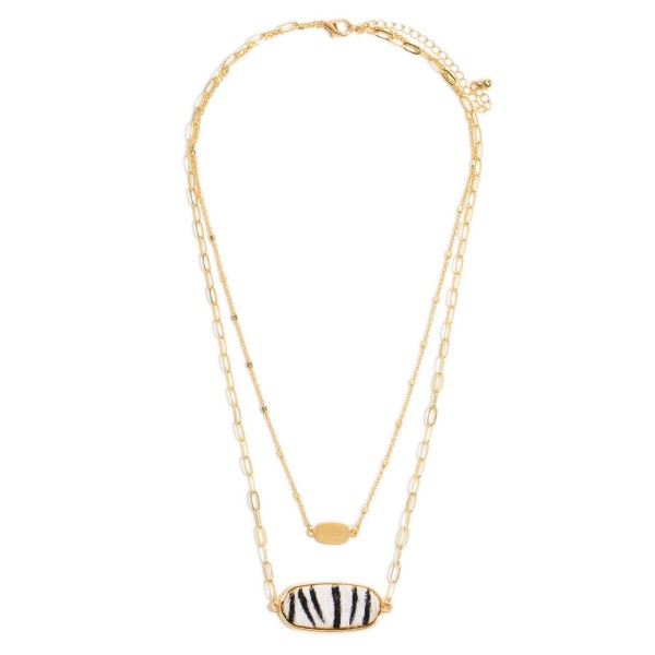 "Chain Link Layered Animal Print Bar Necklace in Gold.  - Pendant 1.25""  - Approximately 16"" in Length - 3"" Adjustable Extender"