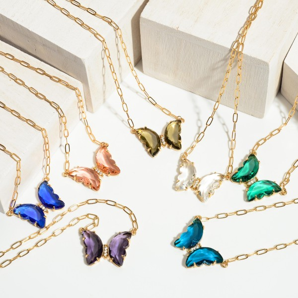 "Crystal Butterly Pendant Necklace in Gold.  - Pendant 1""  - Approximately 16"" in Length  - 3"" Adjustable Extender"