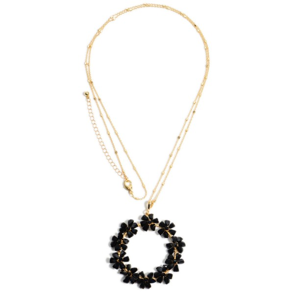 """Crystal Flower Beaded Pendant Necklace.  - Pendant 2"""" in Diameter - Approximately 34"""" in Length - 3"""" Adjustable Extender"""