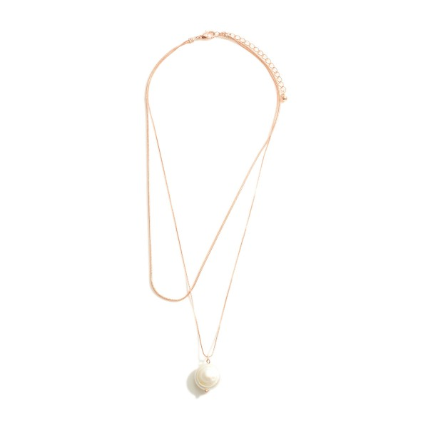 """Layered Metal Necklace Featuring Faux Pearl Accent.   - Approximately 3"""" in Diameter"""