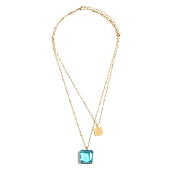 """Layered Crystal Square Pendant Necklace.  - Pendant .75""""  - Approximately 18"""" in Length - 3"""" Adjustable Extender"""