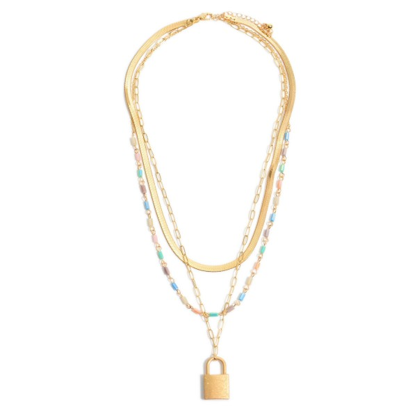 "Herringbone Beaded Chain Link Layered Padlock Necklace in Gold.  - Pendant 1""  - Approximately 20"" in Length - 3"" Adjustable Extender"