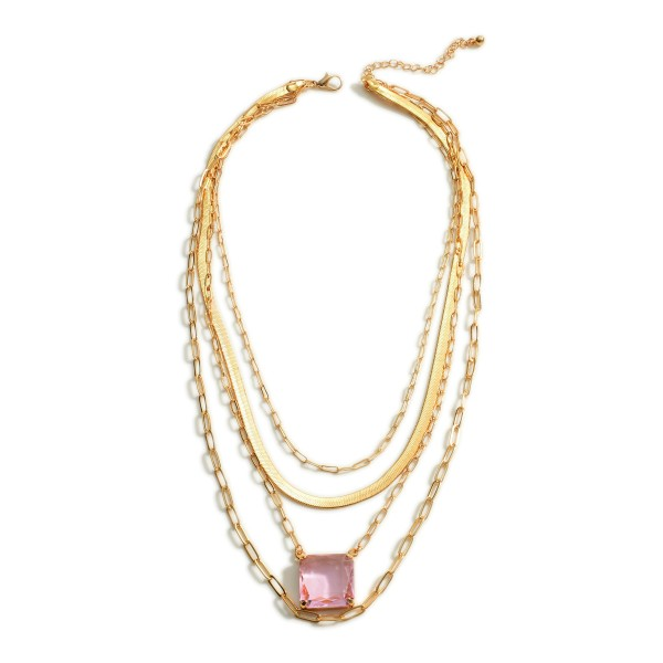 "Layered Gold Chain Necklace Featuring Crystal Pendant.   - Approximately 20"" Long"