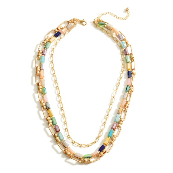 """Layered Chain Link Necklace Featuring Iridescent Bead Accents.   - Approximately 18"""" Long"""