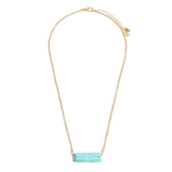 "Semi Precious Bar Pendant Necklace.  - Bar Pendant 1.5""  - Approximately 18"" in Length - 3"" Adjustable Extender"