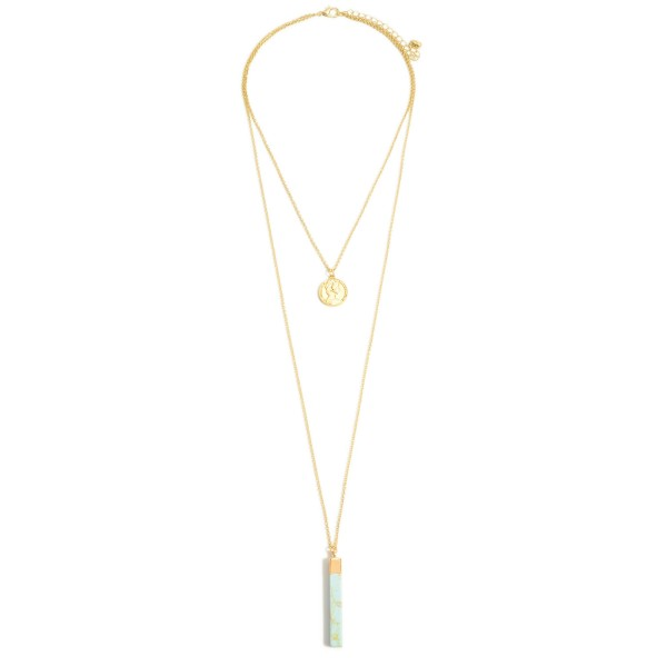 "Semi Precious Coin Layered Bar Pendant Necklace in Gold.  - Bar Pendant 1.5"" - Approximately 24"" in Length - 3"" Adjustable Extender"