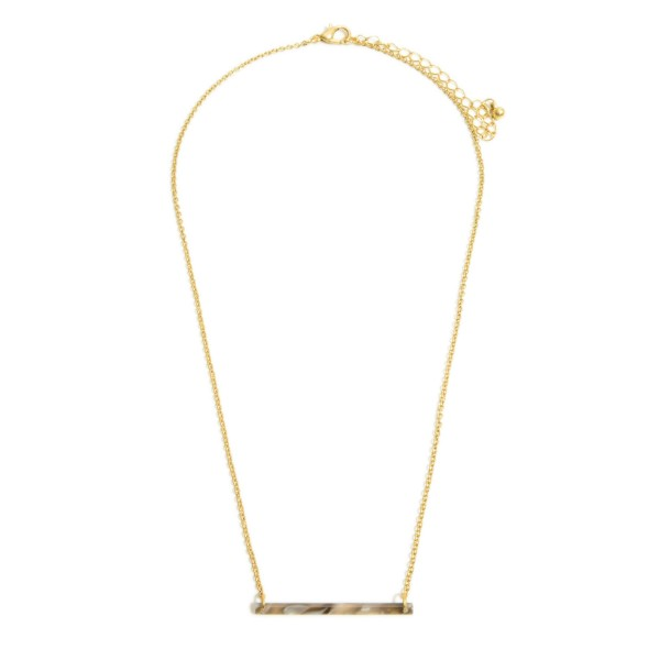 """Resin Bar Pendant Necklace.  - Bar Pendant 1.5""""  - Approximately 18"""" in Length - 3"""" Adjustable Extender"""