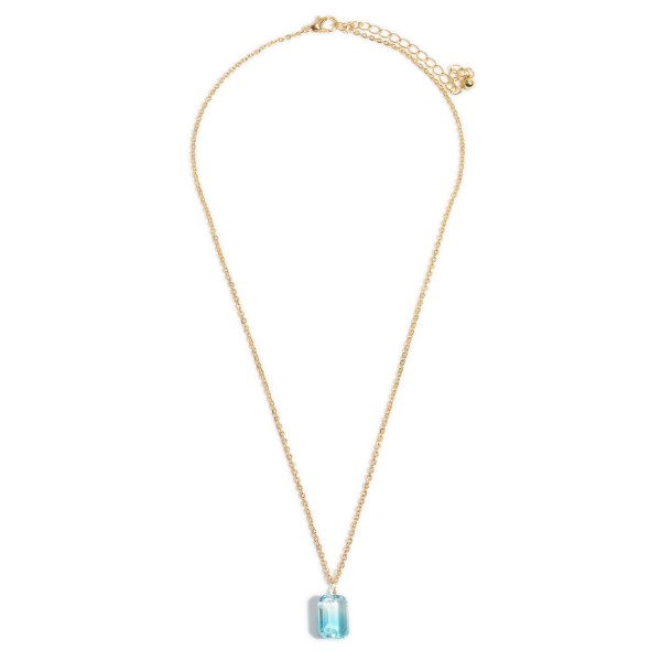 """Ombre Crystal Pendant Necklace in Gold.  - Pendant .5""""  - Approximately 18"""" in Length - 3"""" Adjustable Extender"""