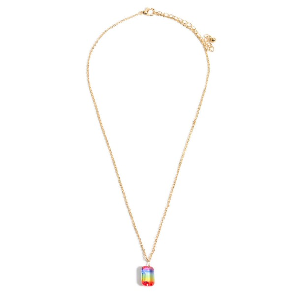 "Ombre Crystal Pendant Necklace in Gold.  - Pendant .5""  - Approximately 18"" in Length - 3"" Adjustable Extender"