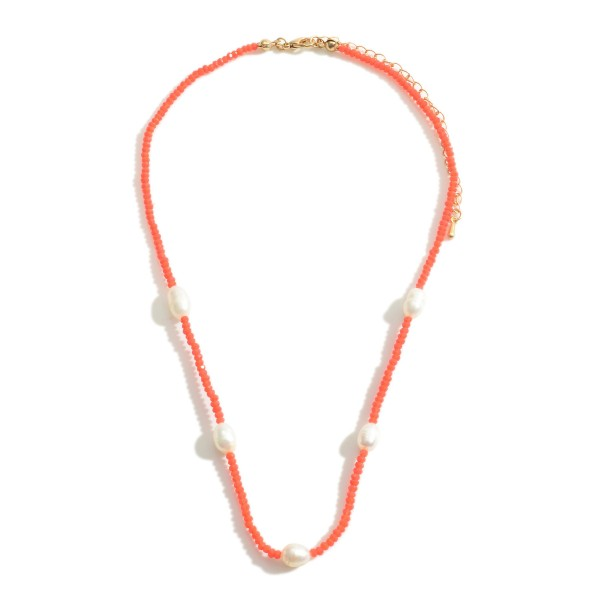 "Beaded Necklace Featuring Freshwater Pearl Accents.   - Approximately 16"" in Length  - Adjustable 3"" Extender"