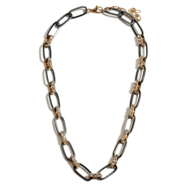 "Short Metal Chain Necklace Featuring Two-Tone Accents and Rhinestone Details.   - Approximately 18"" Long"
