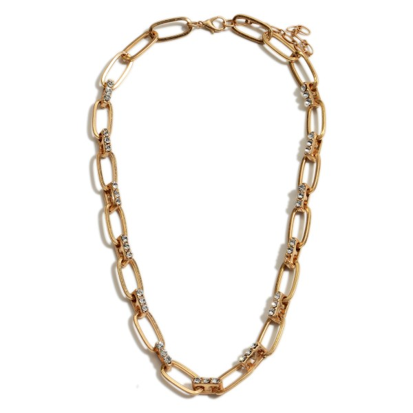 "Short Metal Chain Necklace Featuring Worn Gold Accents and Rhinestone Details.   - Approximately 18"" Long"